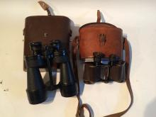 Two pairs of leather case Binoculars, WW1 Military along with Another