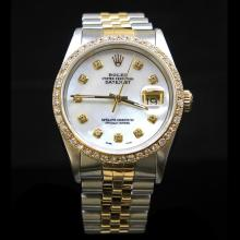 Rolex Two-Tone DateJust 36mm 1.65 cts.  Diamond Bezel Diamond Dial Men's Wristwatch
