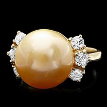 14k Yellow Gold 14mm Pearl 0.80ct Diamond Ring