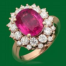14k Gold 4.05ct Ruby 1.60ct Diamond Ring