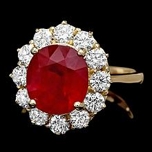 14k Yellow Gold 5.00ct Ruby 1.35ct Diamond Ring