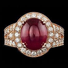 14k Rose Gold 9.00ct Ruby 1.55ct Diamond Ring