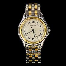 Cartier Montres Cougar Two-Tone SS 18K Yellow Gold