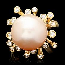 14k Yellow Gold 15mm Pearl 0.80ct Diamond Ring
