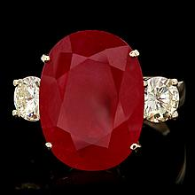 14k Yellow Gold 14.00ct Ruby 1.40ct Diamond Ring