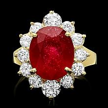 14k Yellow Gold 7.24ct Ruby 1.56ct Diamond Ring