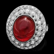 14k White Gold 10.00ct Ruby 1.25ct Diamond Ring