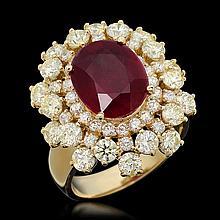14k Gold 5.23ct Ruby 3.47ct Diamond Ring