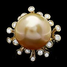 14k Gold 16 X 16mm Pearl 0.79ct Diamond Ring