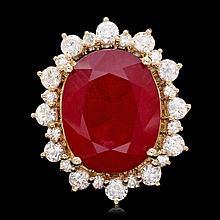 14k Yellow Gold 21.00ct Ruby 2.00ct Diamond Ring