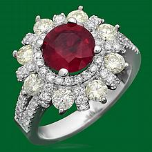 14k Gold 2.18ct Ruby 1.82ct Diamond Ring