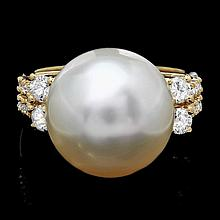 14k Gold 14 X 16mm Pearl 0.60ct Diamond Ring