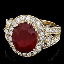 14k Yellow Gold 8.00ct Ruby 1.40ct Diamond Ring