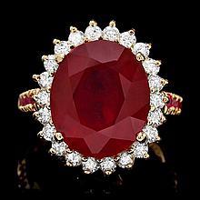 14k Yellow Gold 10.3ct Ruby 0.70ct Diamond Ring