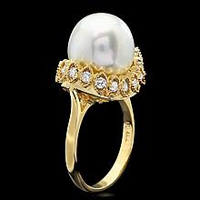 14k Yellow Gold 12mm Pearl 0.65ct Diamond Ring