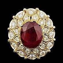 14k Yellow Gold 10.00ct Ruby 1.60ct Diamond Ring