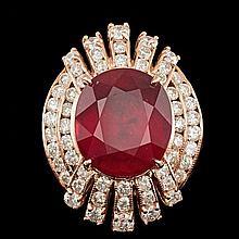 14k Rose Gold 11.00ct Ruby 2.10ct Diamond Ring