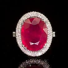 14k Gold 8.94ct Ruby 0.85ct Diamond Ring