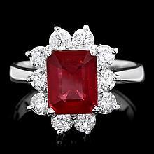 14k White Gold 3.00ct Ruby 1.25ct Diamond Ring