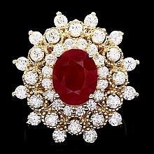 14k Yellow Gold 4.00ct Ruby 2.00ct Diamond Ring