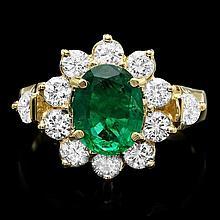 14k Gold 1.50ct Emerald 1.25ct Diamond Ring