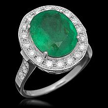 14K Gold 3.50ct Emerald 0.70ct Diamond Ring