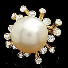14k Yellow Gold 15mm Pearl 0.80ct Diamond Ring