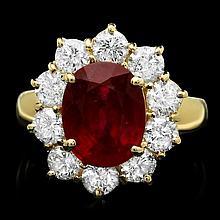 14k Yellow Gold 4.66ct Ruby 1.74ct Diamond Ring