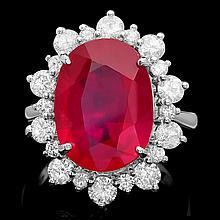 14k White Gold 11.50ct Ruby 2.00ct Diamond Ring