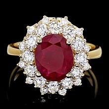14k Yellow Gold 1.50ct Ruby 1.50ct Diamond Ring