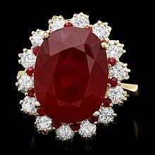 14k Yellow Gold 14.2ct Ruby 1.26ct Diamond Ring
