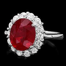 14k White Gold 5.00ct Ruby 0.90ct Diamond Ring