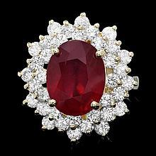 14k Yellow Gold 7.50ct Ruby 2.30ct Diamond Ring