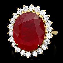 14k Yellow Gold 14ct Ruby 1.50ct Diamond Ring