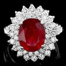 14k White Gold 5.00ct Ruby 1.50ct Diamond Ring