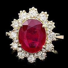 14k Yellow Gold 4.00ct Ruby 1.15ct Diamond Ring