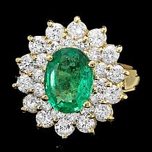 14k Gold 1.70ct Emerald 1.45ct Diamond Ring