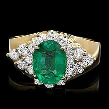 14k Gold 1.70ct Emerald 0.90ct Diamond Ring
