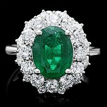 14k White Gold 3.20ct Emerald 1.80ct Diamond Ring