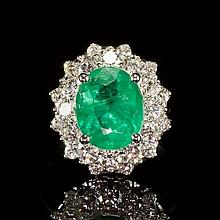 14K Gold 2.52ct Emerald 1.46ct Diamond Ring