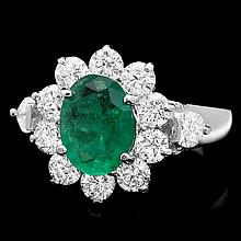 14k White Gold 1.50ct Emerald 1.75ct Diamond Ring