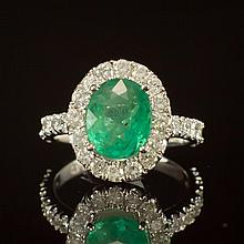 14K Gold 1.99ct Emerald 1.21ct Diamond Ring