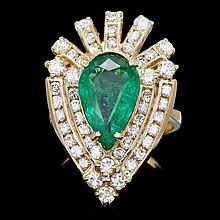 14k Gold 3.00ct Emerald 2.00ct Diamond Ring