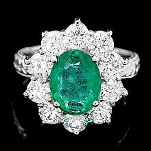 18k White Gold 2.25ct Emerald 1.25ct Diamond Ring
