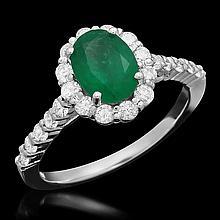 14K Gold 1.21ct Emerald 0.72ct Diamond Ring