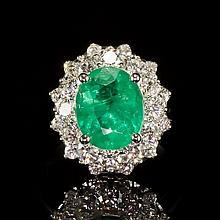 14K Gold 2.52ct Emerald 1.46ct Diamond Ring