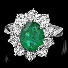14k White Gold 2.30ct Emerald 1.70ct Diamond Ring