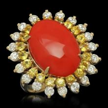 14K Gold 7.73ct Coral 1.82ct Sapphire 1.54ct Diamond Ring