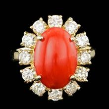 14k Yellow Gold 5.50ct Coral 1.60ct Diamond Ring