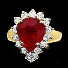 14k Yellow Gold 6.00ct Ruby 1.20ct Diamond Ring